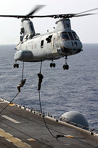 Marines and IDF soldiers fast rope from a CH-46E Sea Knight