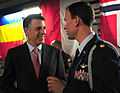 Markos Kounalakis, spouse of U.S. Ambassador to Hunagary, and Maj. Cameron Shirley, U.S. Embassy Attache Office talk on board a C-17 Globemaster III at Budapest, Hungary, July 27, 2012. 120727-F-PB969-063.jpg