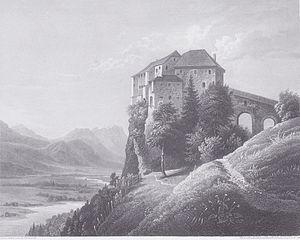 Schloss Hollenburg - Engraving by Markus Pernhart (1824–1871)