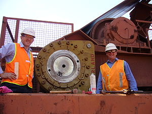 Altra Industrial Motion - A Marland Clutch installed at the coal loading facility in Port Hedland, WA, Australia, together with two employees from Altra's sales and support office in Castle Hill, NSW.