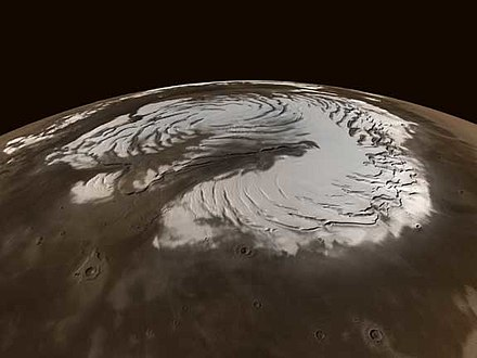 Northern polar ice cap on Mars. Mars north pole.jpg