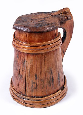 Tankard - Image: Mary Rose wooden tankard 1