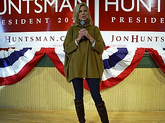Jon Huntsman presidential campaign, 2012 - Huntsman's wife Mary Kaye campaigning in New Hampshire ahead of the primary.