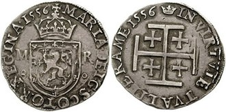 Jerusalem cross - The Jerusalem cross on a 1556 Testoon of Mary, Queen of Scots.