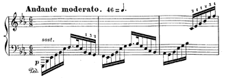 Piano Concerto (Massenet) - The opening bars of the solo part of the first movement, played over sustained chords in the strings.