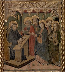 The Virgin Mary and Saints Peter, Paul, John the Evangelist, and Catherine of Alexandria Appearing to Saint Martin