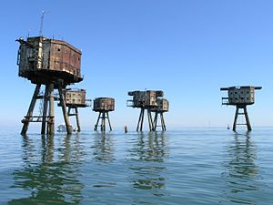 Radio City (pirate radio station) - Shivering Sands Army Fort. A recent photo, taken many years after the catwalks connecting the towers were removed as a safety hazard, and showing the towers in far rustier condition than they were in the 1960s.