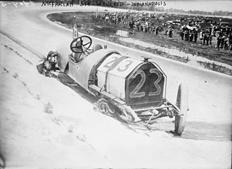 Mel Marquette - Marquette's wrecked McFarlan racing car at the 1912 Indianapolis 500