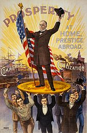 "Presidential candidate William McKinley stands on an oversized gold coin carried by a merchant, a capitalist, a businessman, a craftsman and others, beneath the word ""Prosperity"""