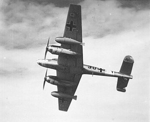 Drop tank - A Bf 110 of 9./ZG 26 with the rarely used, fin-stabilized 900 litre drop tanks