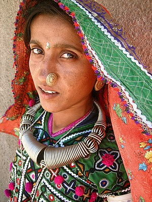 Western India - A Meghwal woman in the Hodka village, north of Bhuj.