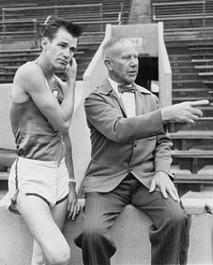 Mel Patton - Patton (left) with coach Dean Cromwell in 1948