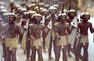 Military of ancient Egypt - Wooden figures found in the tomb of Mesehti: Egyptian army of the 11th Dynasty
