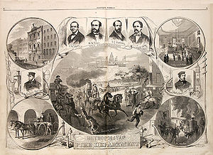 New York City Fire Department - Original sheet celebrating the official formation of the Metropolitan Fire Department, 1866