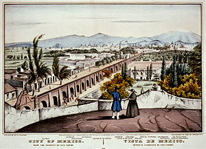 Colonia Santa María la Ribera - An view of the City of Mexico from the convent of San Cosme. A work of N. Currier.