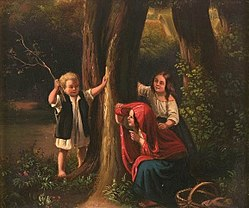 A 19th century painting of three children playing hide and seek in a forest