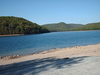 Michaux State Forest - The lake in October 2007, with the water receded by 30 feet
