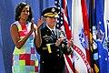 Michelle Obama and Gen. Martin E. Dempsey applaud, April 30, 2012 (2).jpg