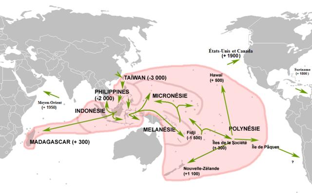 Austronesernas spridning, årtal från år 0