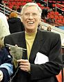 Mike Lange with knitting lady sock 2011-12-03.JPG