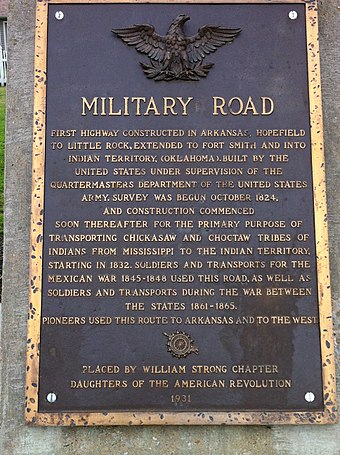 Historic Marker in Marion, Arkansas, for the Trail of Tears Military Road Marker US 64 Marion AR.jpg