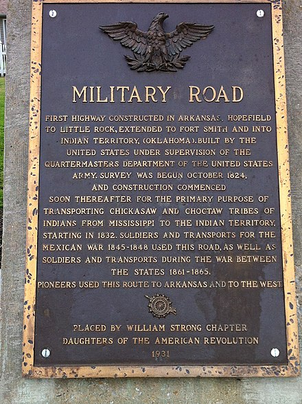 Historic Marker in Marion, Arkansas for the Trail of Tears Military Road Marker US 64 Marion AR.jpg