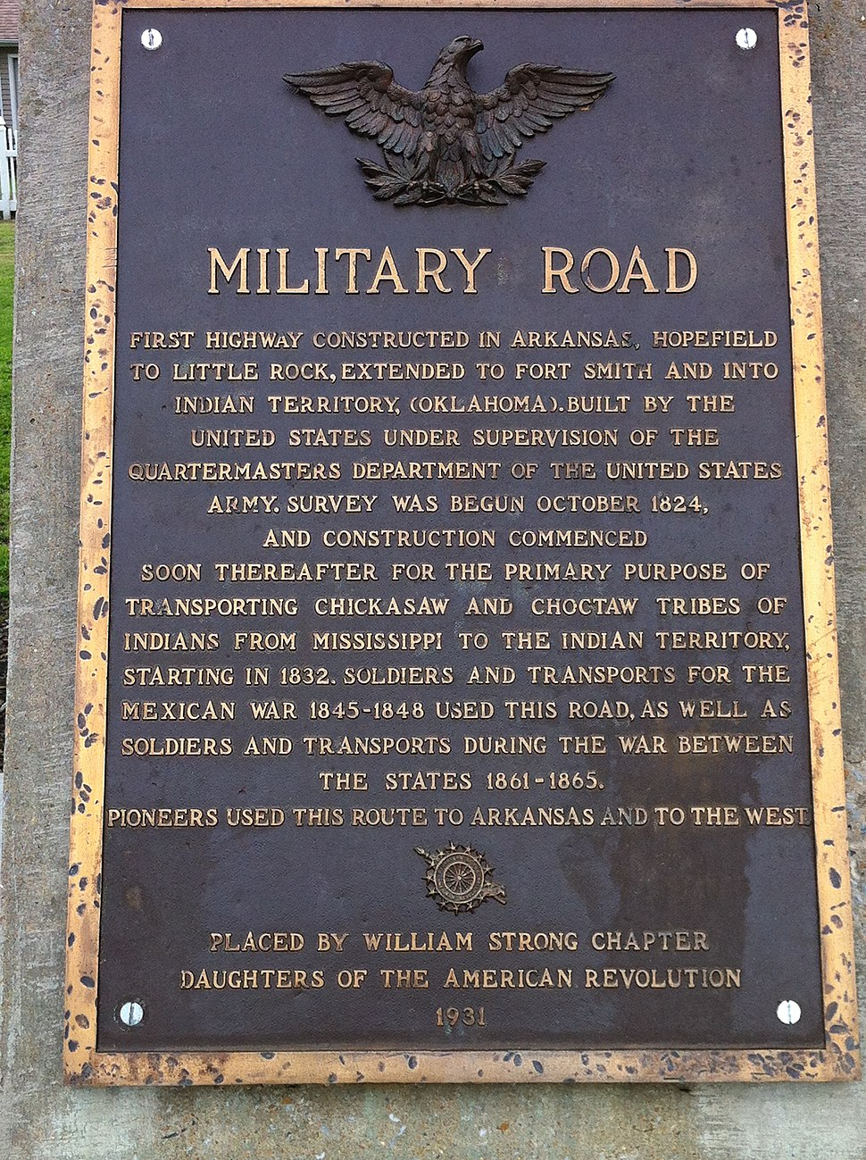 Military Road Marker US 64 Marion AR