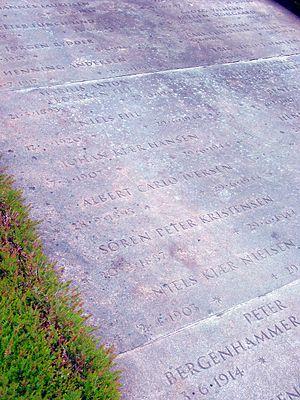 Børge Johannes Lauritsen - Memorial stone in Ryvangen for resistance members including Lauritsen
