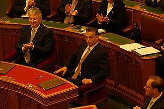 Zsolt Semjén - Zsolt Semjén (left), Viktor Orbán and Tibor Navracsics on 29 May 2010 after taking the oath