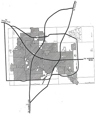 Interstate 35E (Minnesota) - 1955 plan for I-35E and other Twin Cities Area Interstates