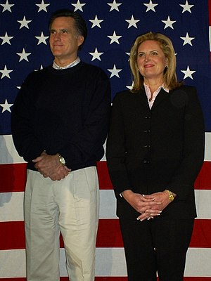 Mitt Romney presidential campaign, 2008 - Mitt and Ann Romney on December 22, 2007, at a campaign event in Londonderry, New Hampshire