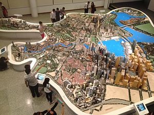 Singapore City Gallery - Photo of the Singapore City Gallery's Central Area Model, taken from the third floor of the gallery. Almost entire model visible, from Orchard Road in top left to Marina bay in bottom right.