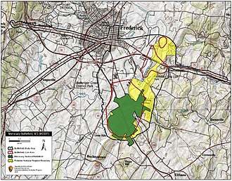 Battle of Monocacy - Map of Monocacy Battlefield core and study areas by the American Battlefield Protection Program