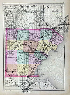Monroe County, Michigan - Map of Monroe County from 1873