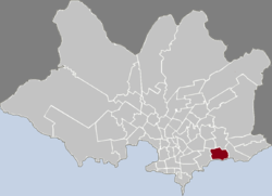 Location of Malvín in Montevideo