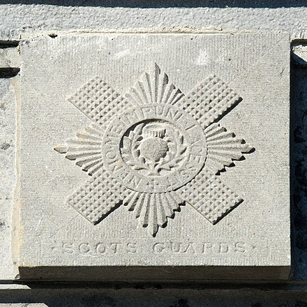 Regimental badge of the Scots Guards on the Gordon Monument in Waterloo. Monument Gordon 08.JPG