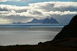 Værøy - Looking south at Mosken and then Værøya (from Moskenes)