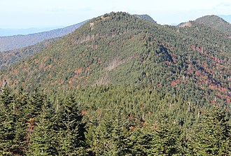 Mount Craig (North Carolina) - Mount Craig as viewed from the summit of Mount Mitchell, taken in 2016.
