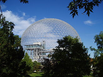 Geodesic dome - The Montreal Biosphère, formerly the American Pavilion of Expo 67, by R. Buckminster Fuller, on Île Sainte-Hélène, Montreal, Quebec