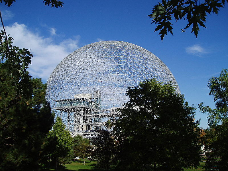 The former Expo 67 United States of America Pavilion designed by Buckminster Fuller, seen here in the fall of 2004. The building now serves as the Biosphere, in Montreal's Parc Jean-Drapeau. The Biosphere is missing the structure's original external clear acrylic skin which was destroyed by a fire in May 1976.