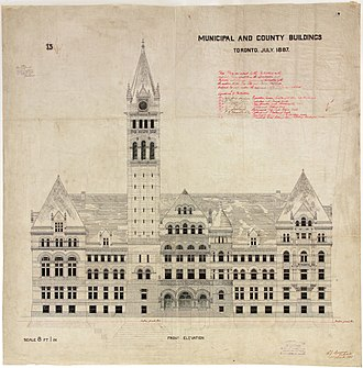 Old City Hall (Toronto) - Architectural drawings of Old City Hall from Queen Street West from 1887.