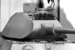 Shot trap - A model depicting the curved front of the early Tiger II turret.