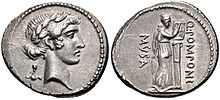 Muse Calliope, Denarius, 56 B.C, Rome.jpg