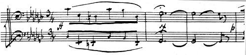 """Mussorgsky kézirat –  hat """"b"""" előjegyzéssel"""
