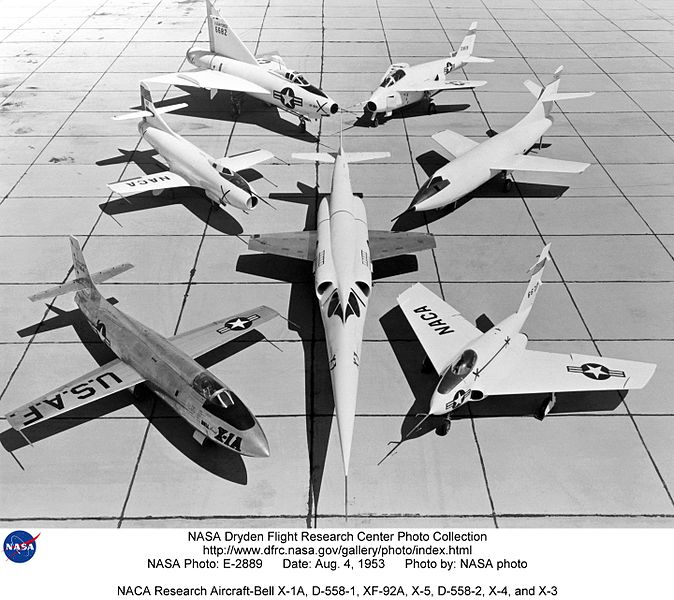 File:NACA Research Aircraft-Bell X-1A, D-558-1, XF-92A, X-5, D-558-2, X-4, and X-3 (19975308821).jpg