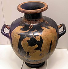 Red-figure vase, depicting a seated woman reading, surrounded by three standing women, one holding a lyre.