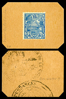 New Caledonia emergency stamp currency, 25 centimes (on card, 1914-23)