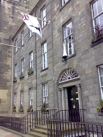 Northern Lighthouse Board - The Board's headquarters in George Street, Edinburgh. The nameplate on the door gives the traditional name of 'Commissioners of Northern Lights'.
