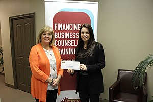 Community business development corporation - Managing Director Roseanne Leonard of the NL Association of CBDCs presents donation to the Ewings Cancer Foundation of Canada