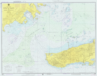 topographic map of a maritime area and adjacent coastal regions